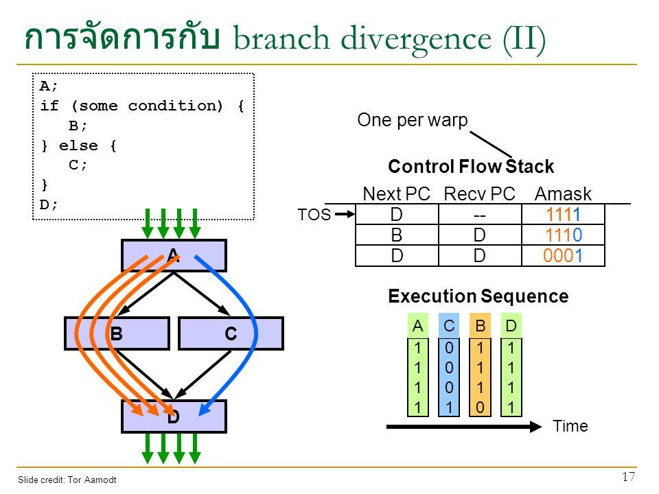 การจัดการกับ branch divergence (II)