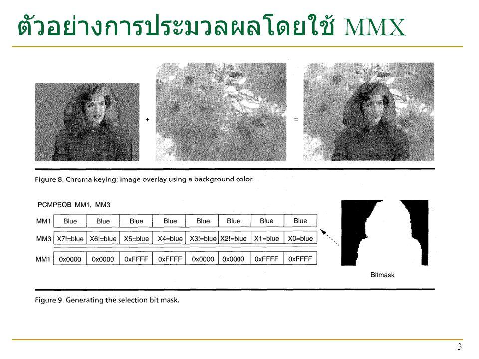 ตัวอย่างการประมวลผลโดยใช้ MMX