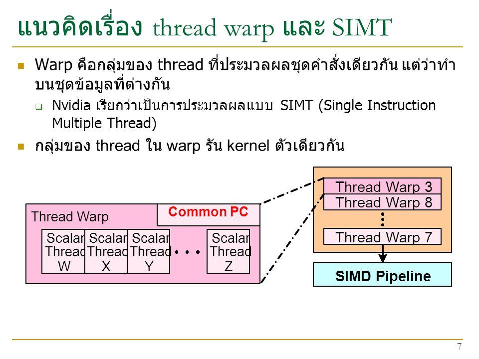 แนวคิดเรื่อง thread warp และ SIMT