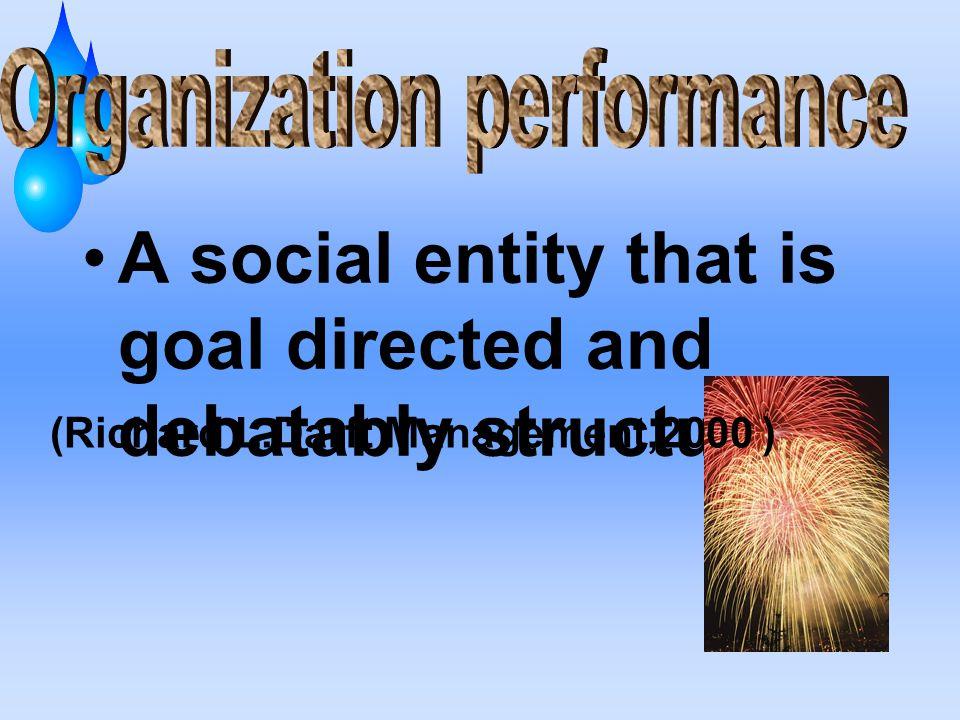 Organization performance (Richard L.Darft Management,2000 )