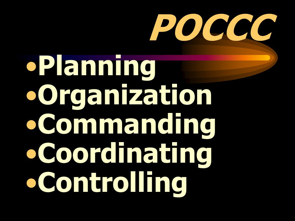 POCCC Planning Organization Commanding Coordinating Controlling