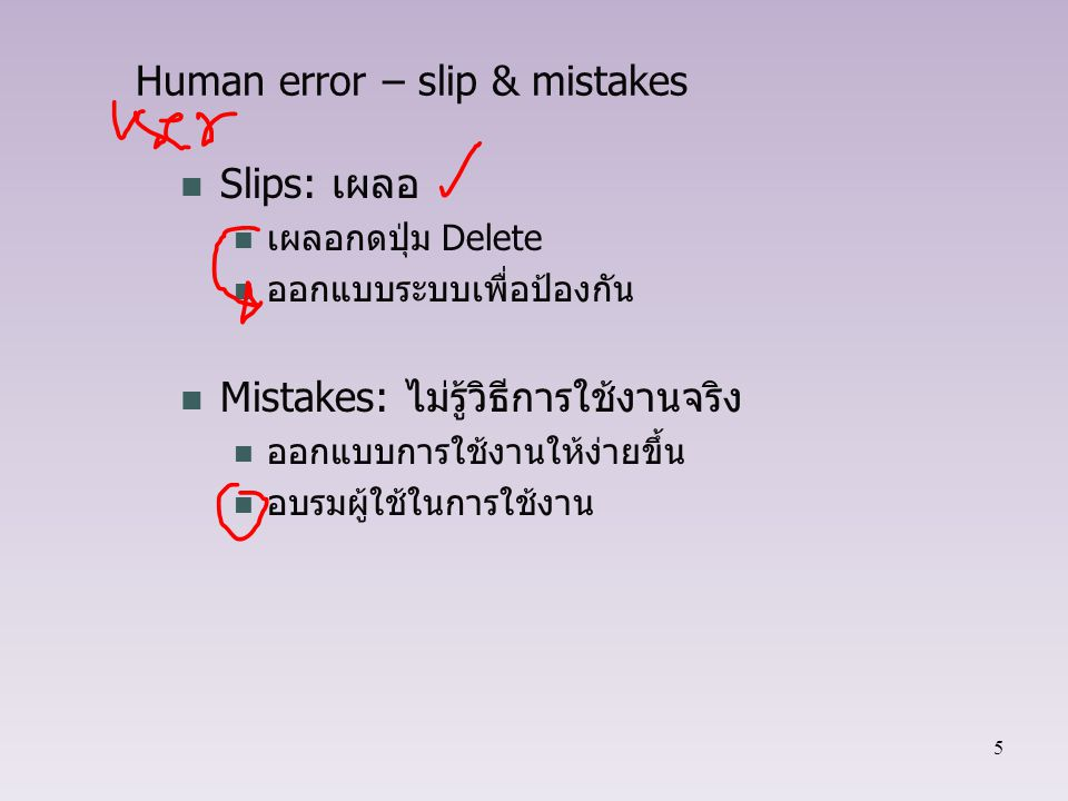 Human error – slip & mistakes