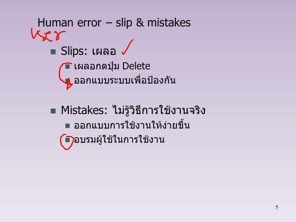 Human error – slip & mistakes