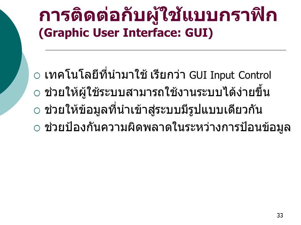 การติดต่อกับผู้ใช้แบบกราฟิก (Graphic User Interface: GUI)