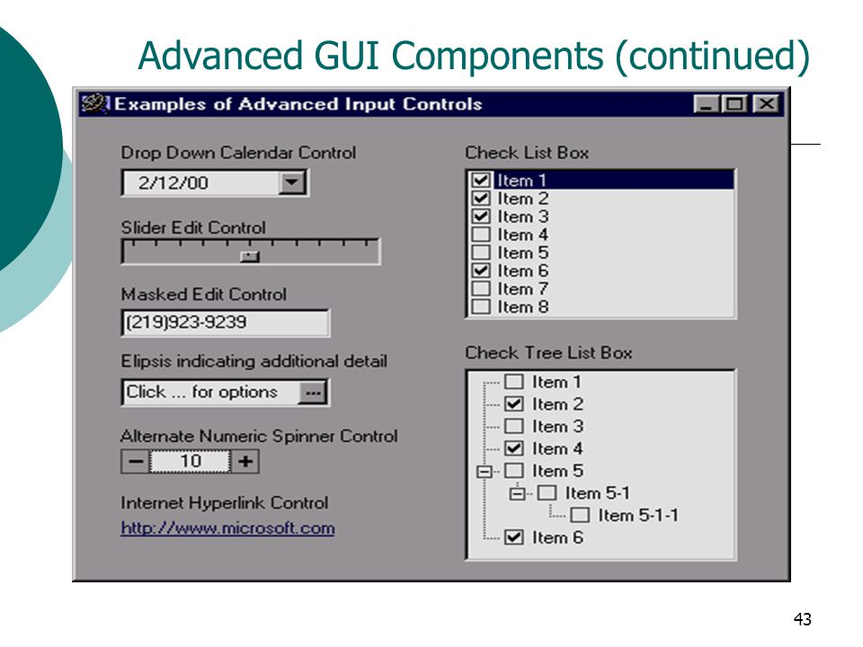 Advanced GUI Components (continued)