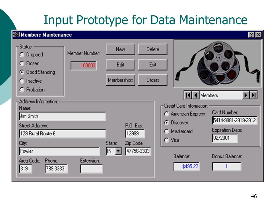 Input Prototype for Data Maintenance