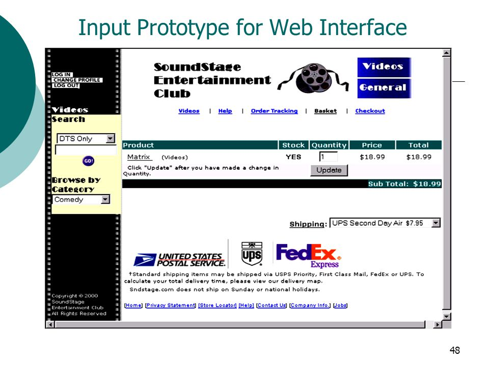 Input Prototype for Web Interface