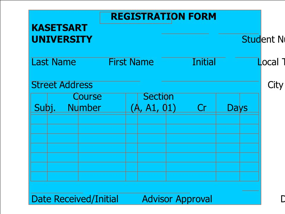 REGISTRATION FORM KASETSART. UNIVERSITY Student Number Semester/Year.