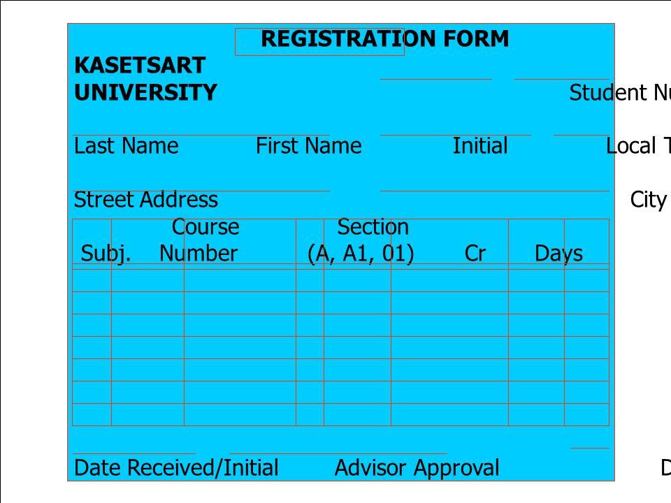 REGISTRATION FORM KASETSART. UNIVERSITY Student Number Semester/Year.