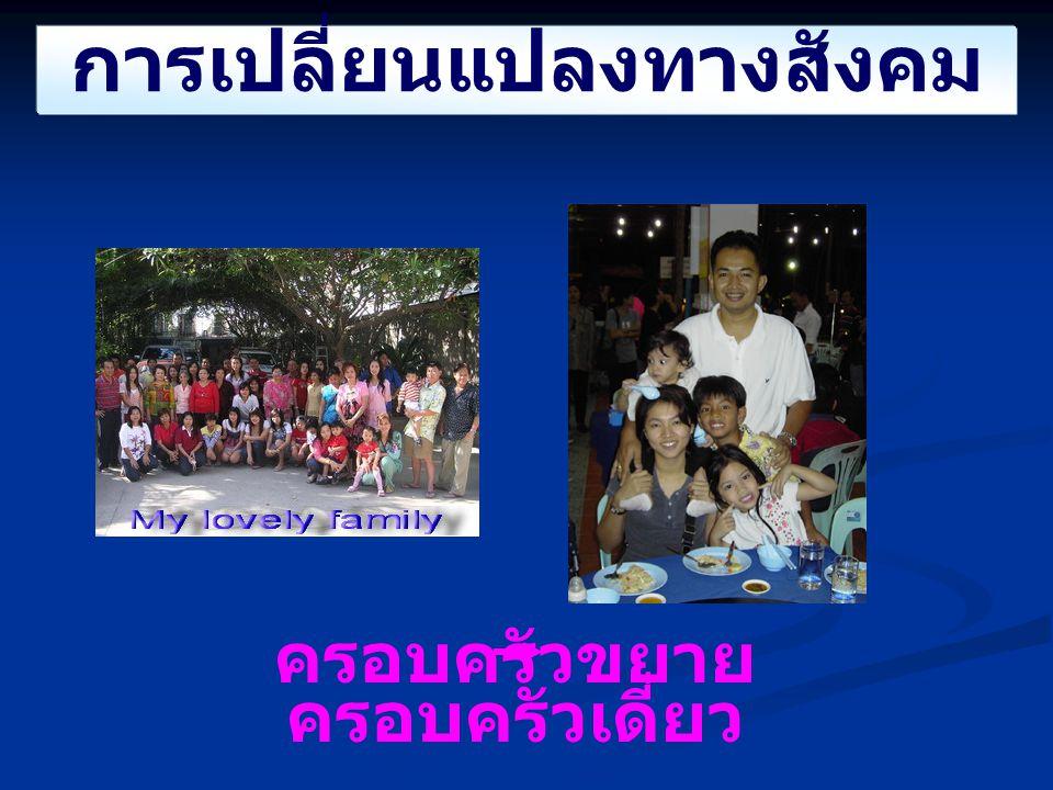 การเปลี่ยนแปลงทางสังคม ครอบครัวขยาย ครอบครัวเดี่ยว
