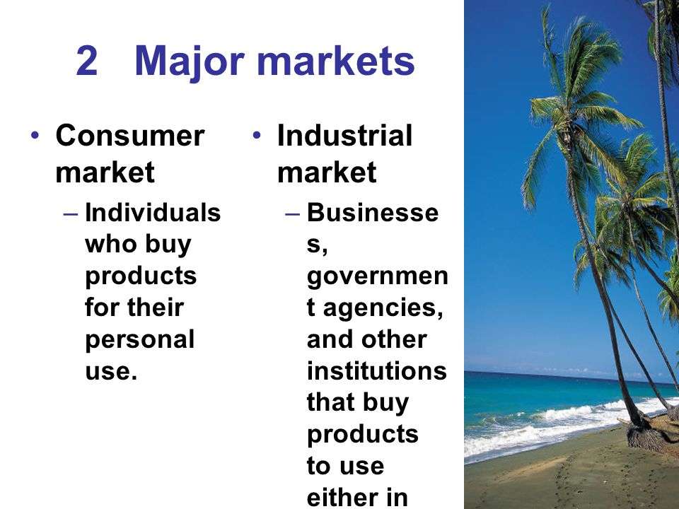 2 Major markets Consumer market Industrial market