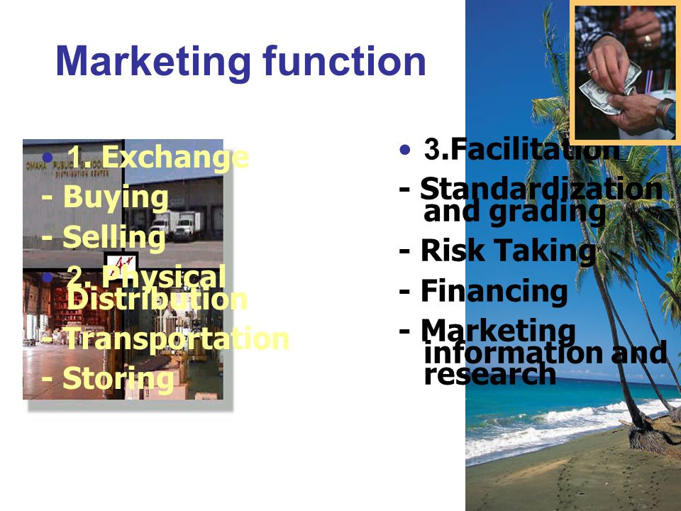 Marketing function 3.Facilitation 1. Exchange