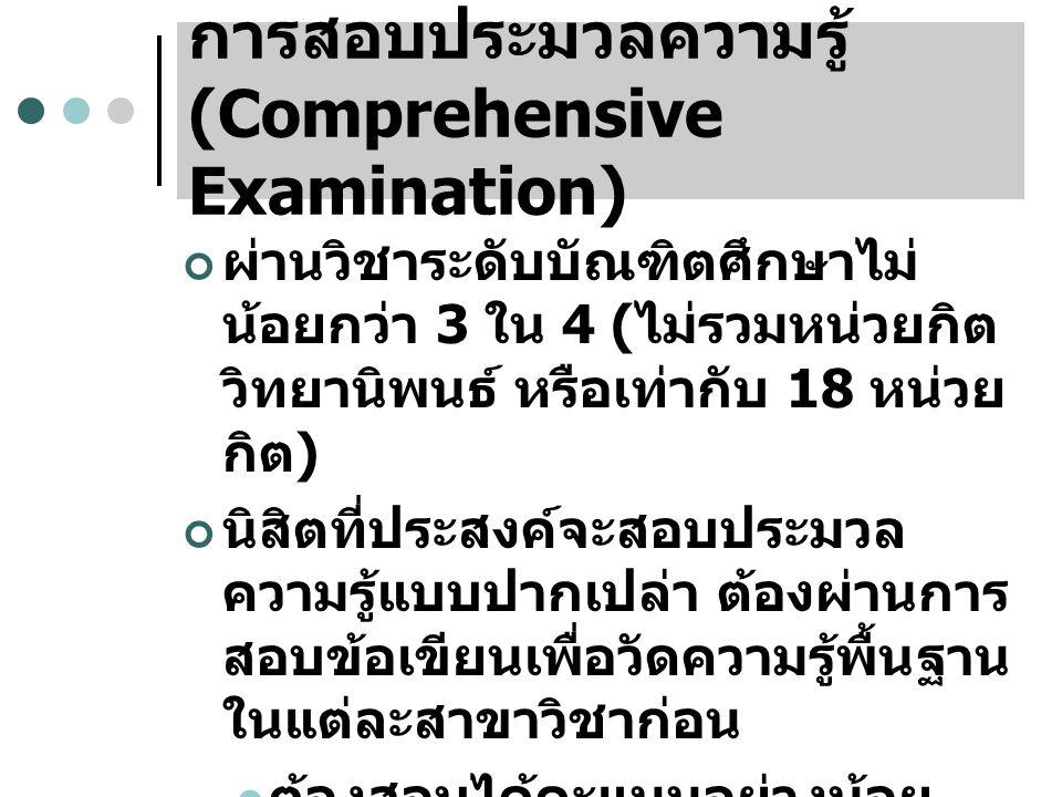 การสอบประมวลความรู้ (Comprehensive Examination)
