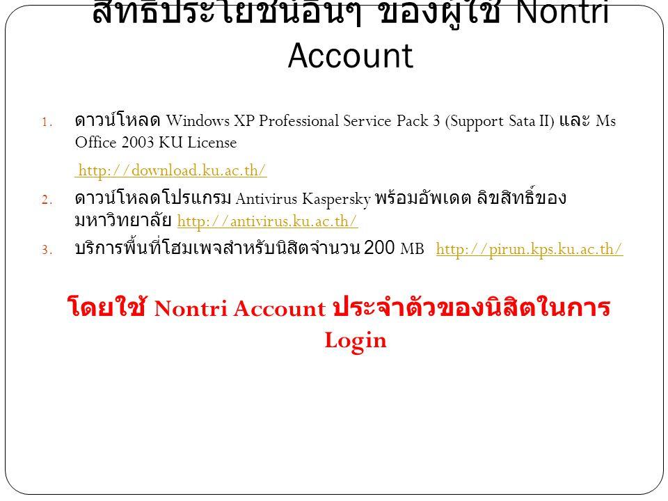 สิทธิประโยชน์อื่นๆ ของผู้ใช้ Nontri Account