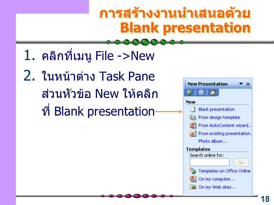 การสร้างงานนำเสนอด้วย Blank presentation