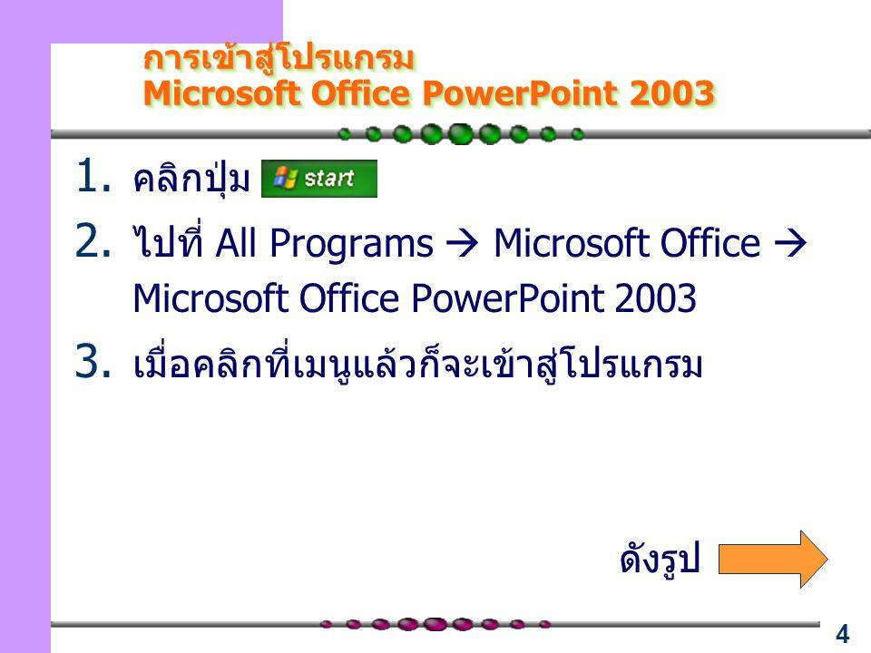 การเข้าสู่โปรแกรม Microsoft Office PowerPoint 2003