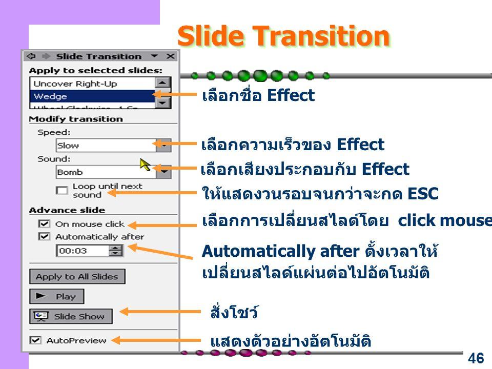 Slide Transition เลือกชื่อ Effect เลือกความเร็วของ Effect