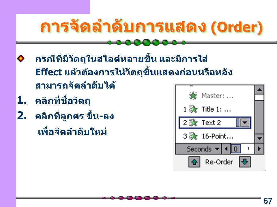 การจัดลำดับการแสดง (Order)