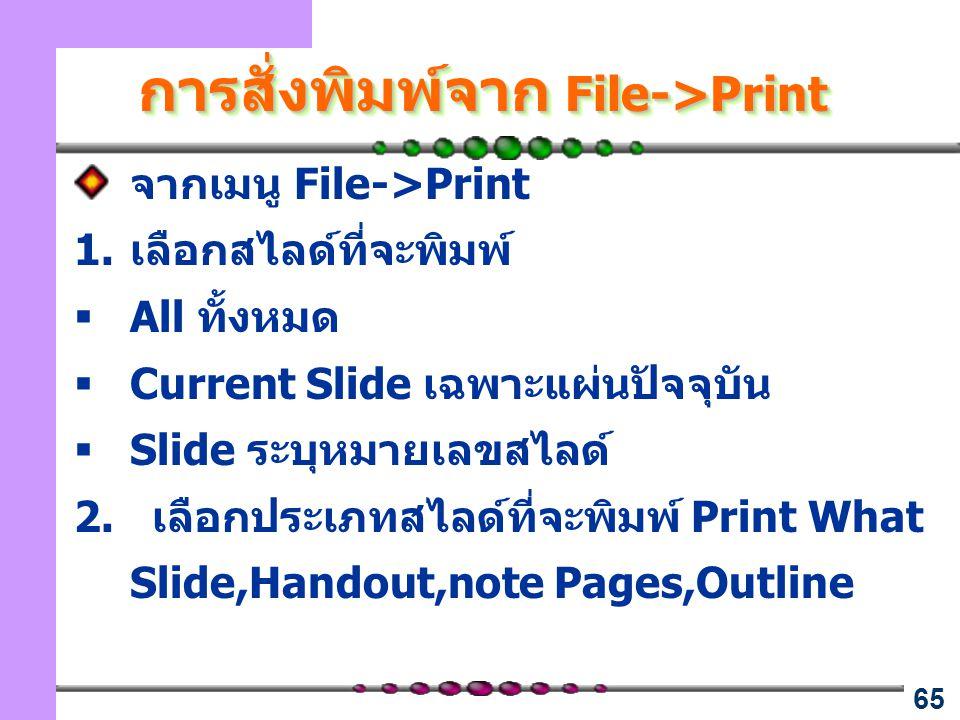 การสั่งพิมพ์จาก File->Print