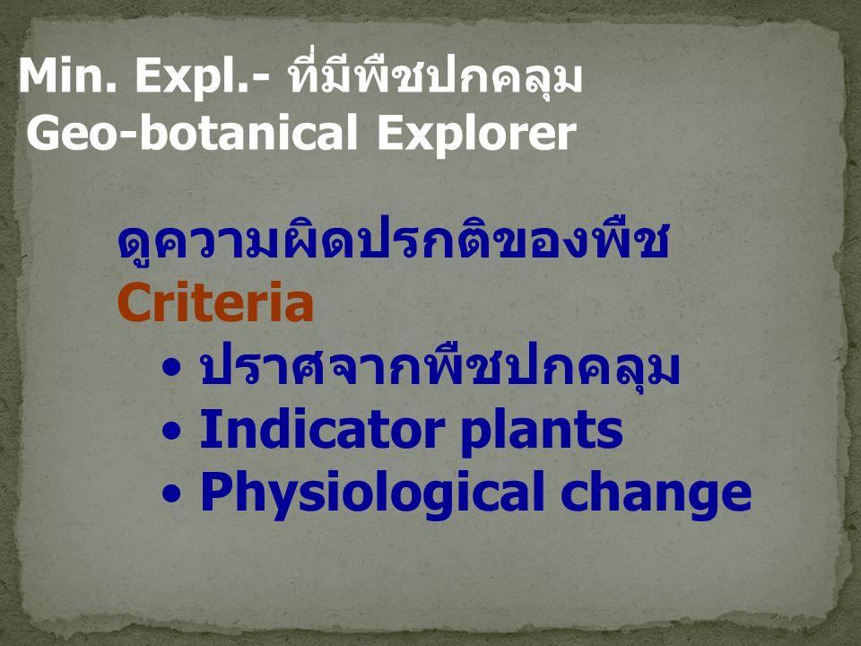 Min. Expl.- ที่มีพืชปกคลุม Geo-botanical Explorer