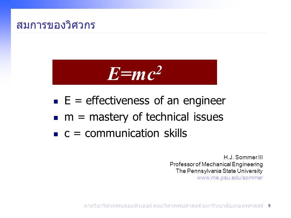 E=mc2 สมการของวิศวกร E = effectiveness of an engineer