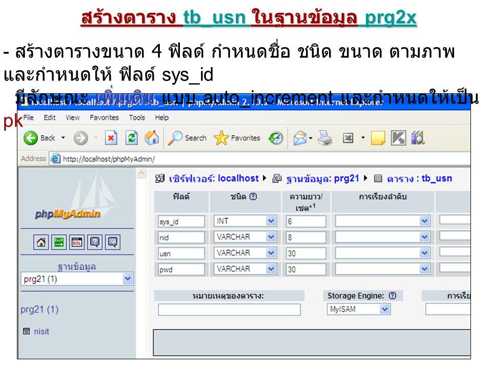 สร้างตาราง tb_usn ในฐานข้อมูล prg2x