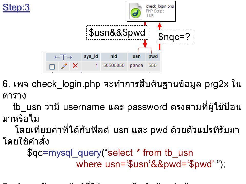 Step:3 $usn&&$pwd. $nqc= 6. เพจ check_login.php จะทำการสืบค้นฐานข้อมูล prg2x ใน ตาราง.