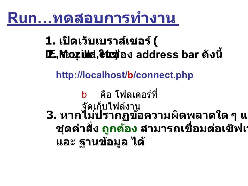 Run…ทดสอบการทำงาน 1. เปิดเว็บเบราส์เซอร์ ( IE,Mozilla,etc)