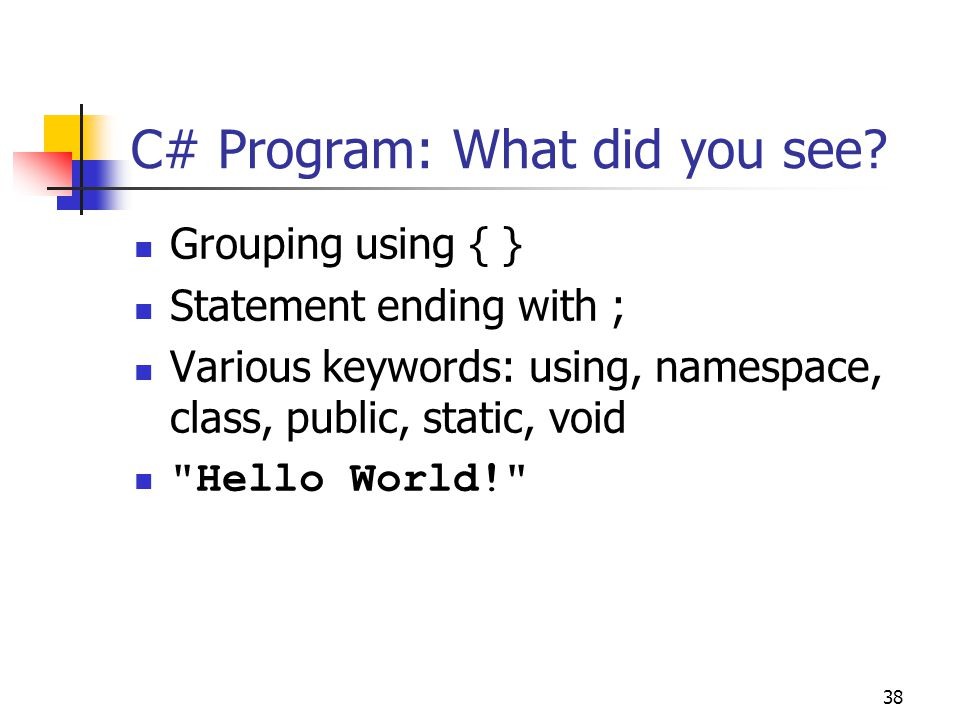 C# Program: What did you see