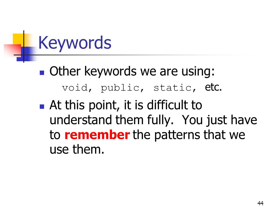 Keywords Other keywords we are using: