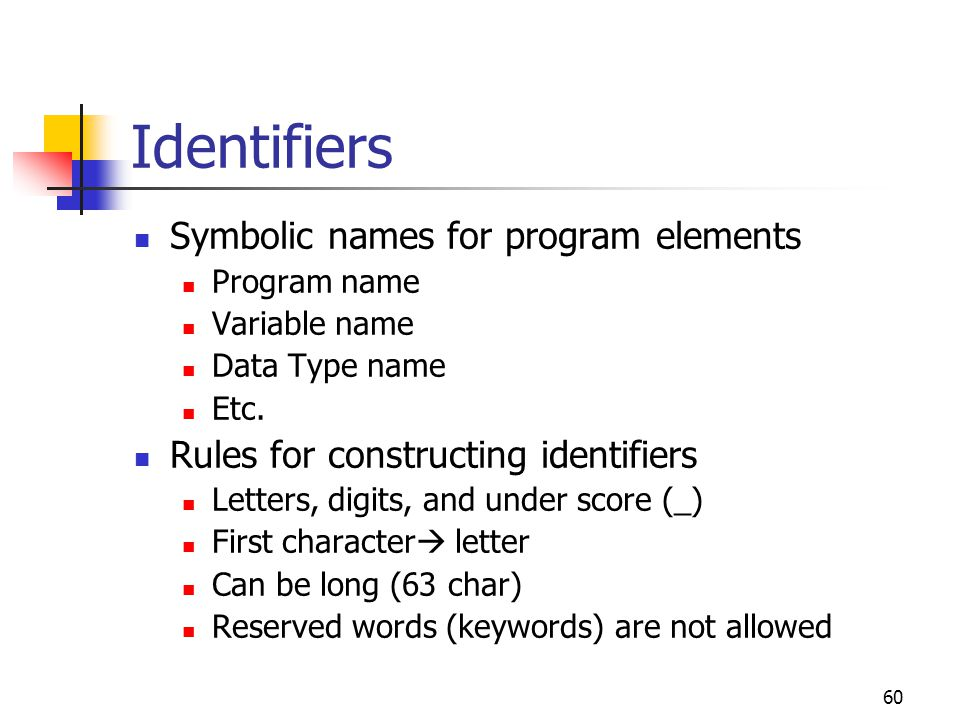 Identifiers Symbolic names for program elements