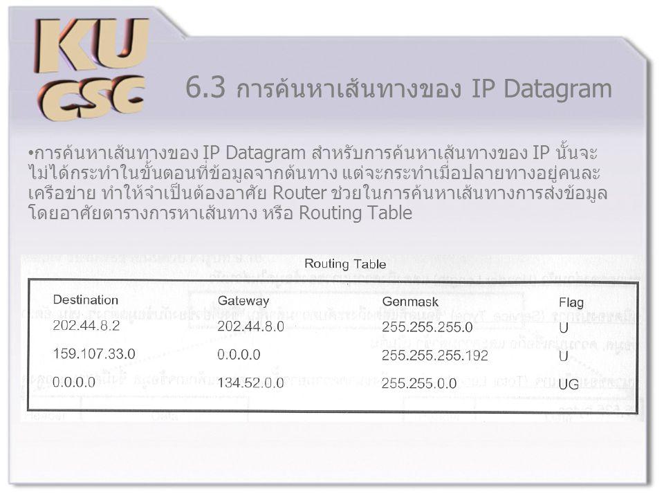 6.3 การค้นหาเส้นทางของ IP Datagram