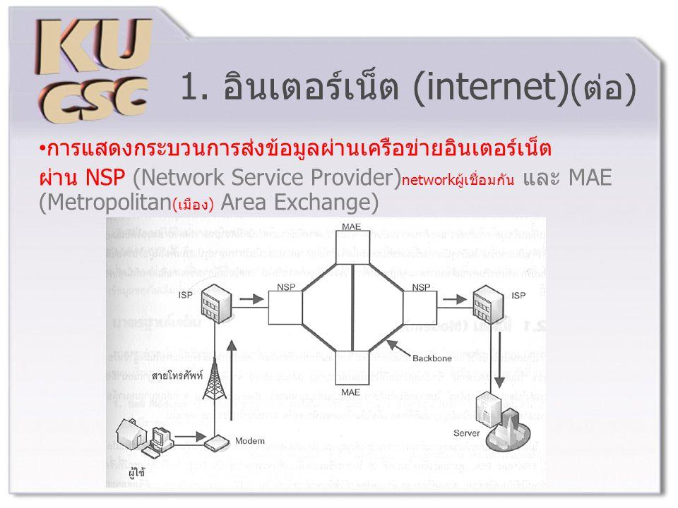 1. อินเตอร์เน็ต (internet)(ต่อ)