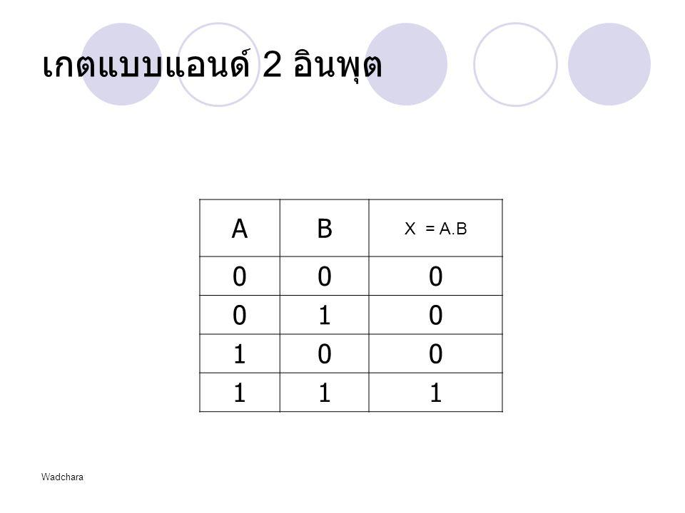 เกตแบบแอนด์ 2 อินพุต A B X = A.B 1 Wadchara