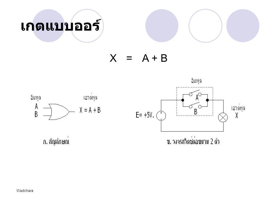 เกตแบบออร์ X = A + B Wadchara