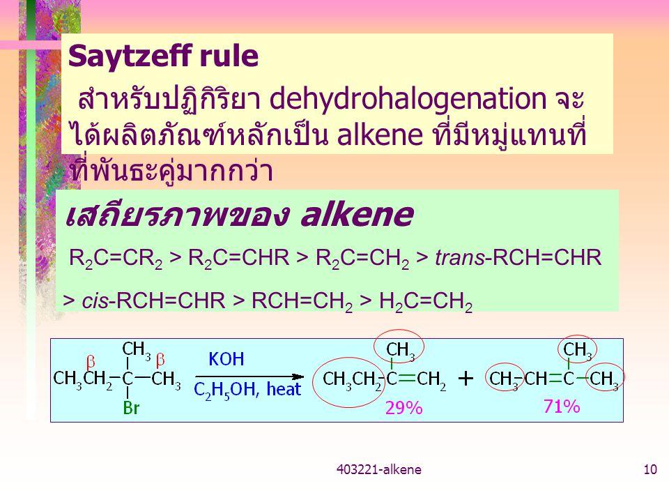 เสถียรภาพของ alkene Saytzeff rule