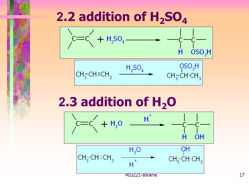 2.2 addition of H2SO4 2.3 addition of H2O 403221-alkene