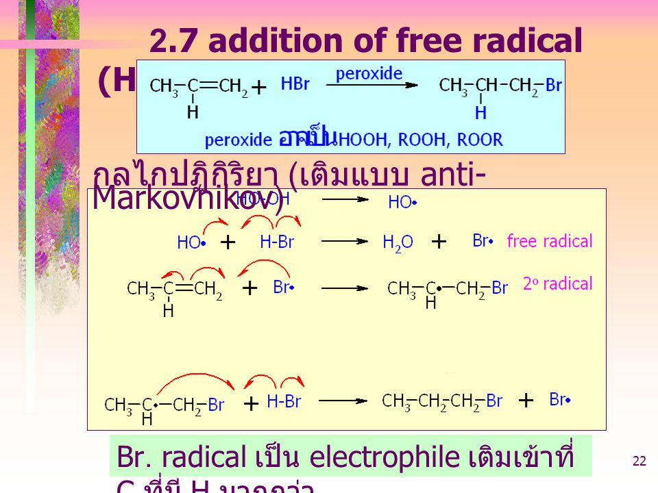 2.7 addition of free radical (HBr + peroxide)