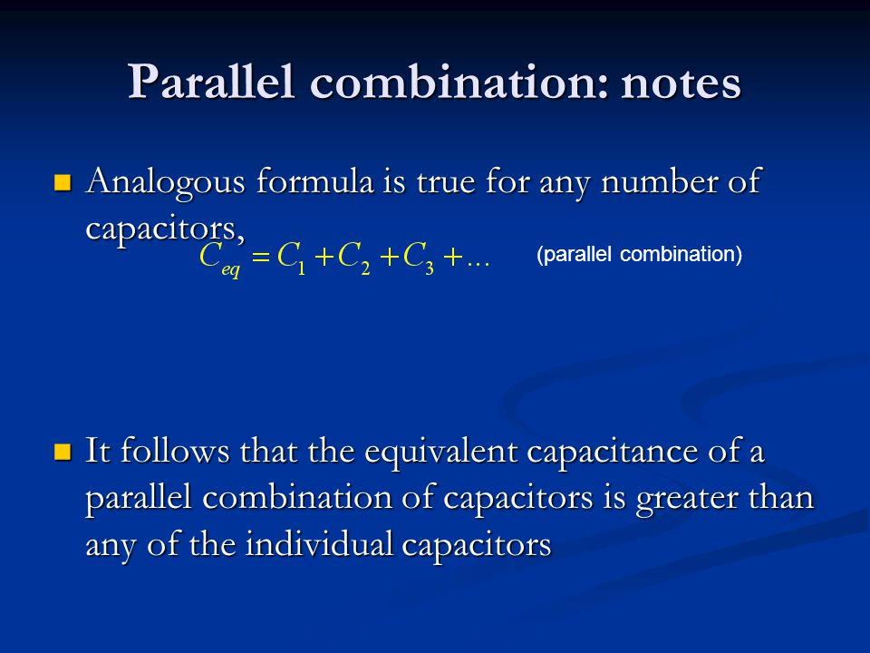 Parallel combination: notes