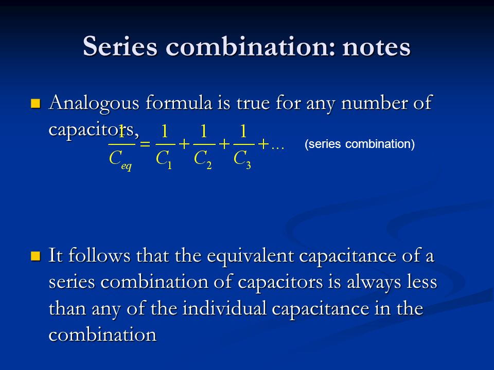 Series combination: notes