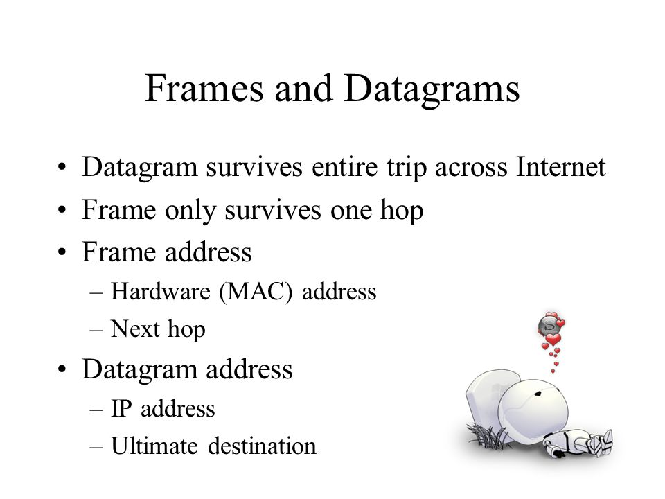 Frames and Datagrams Datagram survives entire trip across Internet