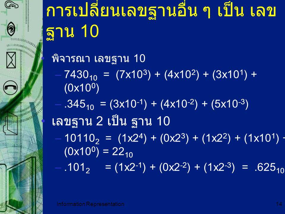 การเปลี่ยนเลขฐานอื่น ๆ เป็น เลขฐาน 10