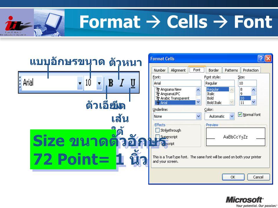 Format  Cells  Font Size ขนาดตัวอักษร 72 Point= 1 นิ้ว แบบอักษร ขนาด