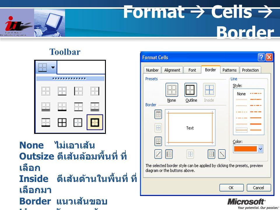Format  Cells  Border Toolbar None ไม่เอาเส้น