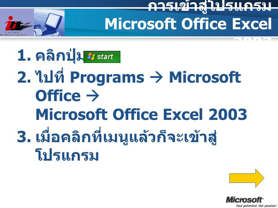 การเข้าสู่โปรแกรม Microsoft Office Excel 2003