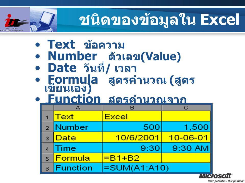 ชนิดของข้อมูลใน Excel