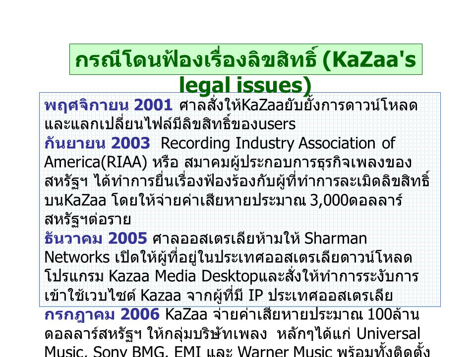 กรณีโดนฟ้องเรื่องลิขสิทธิ์ (KaZaa s legal issues)