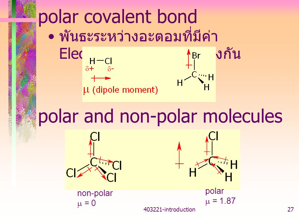polar and non-polar molecules