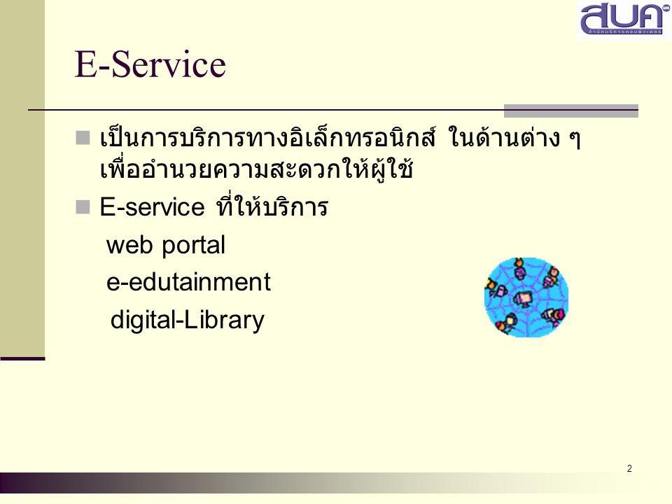 E-Service เป็นการบริการทางอิเล็กทรอนิกส์ ในด้านต่าง ๆ เพื่ออำนวยความสะดวกให้ผู้ใช้ E-service ที่ให้บริการ.