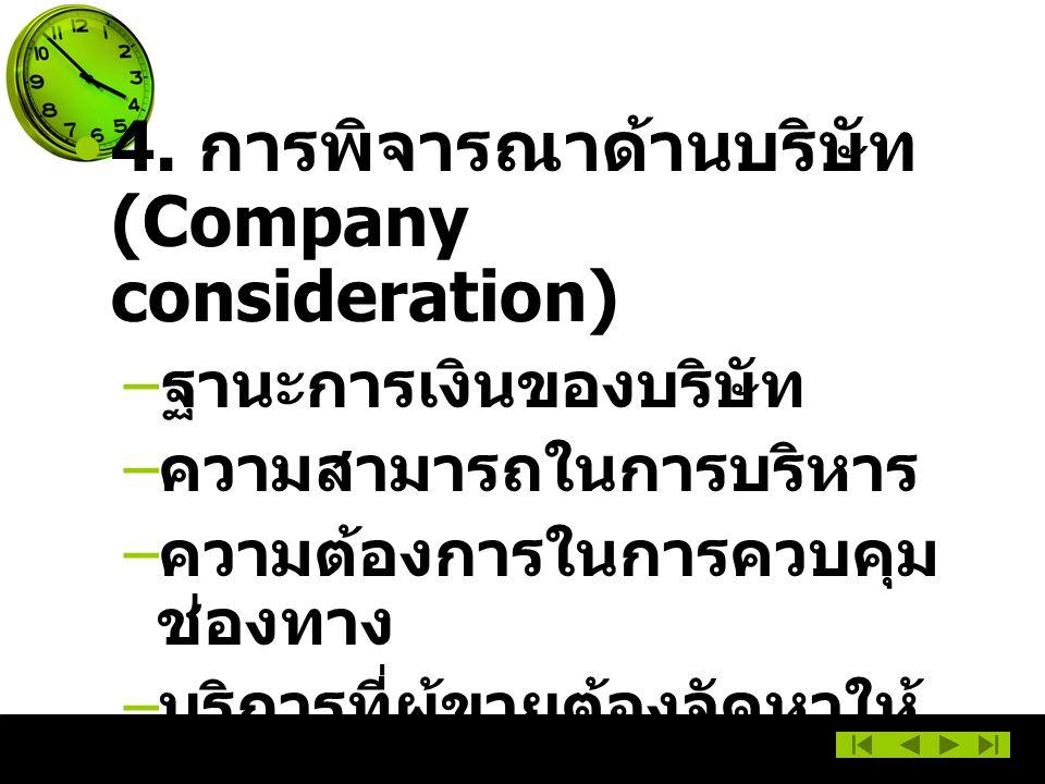4. การพิจารณาด้านบริษัท (Company consideration)